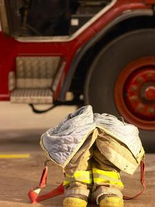 Firefighting Gear with Truck in Background
