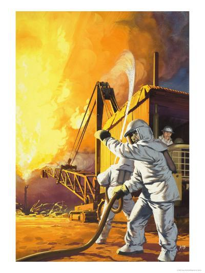 Fireman in Safety Suit Fighting a Fire at an Oil Field-Angus Mcbride-Giclee Print