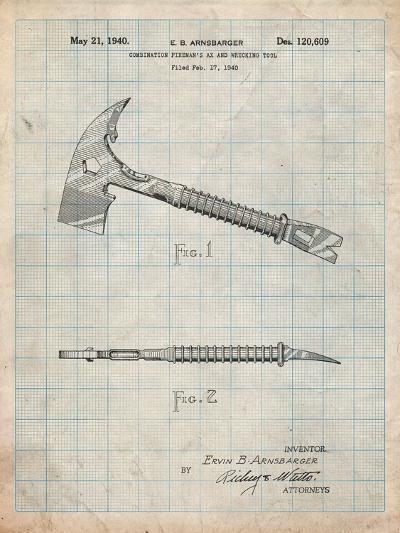 Fireman's Axe 1940 Patent-Cole Borders-Art Print
