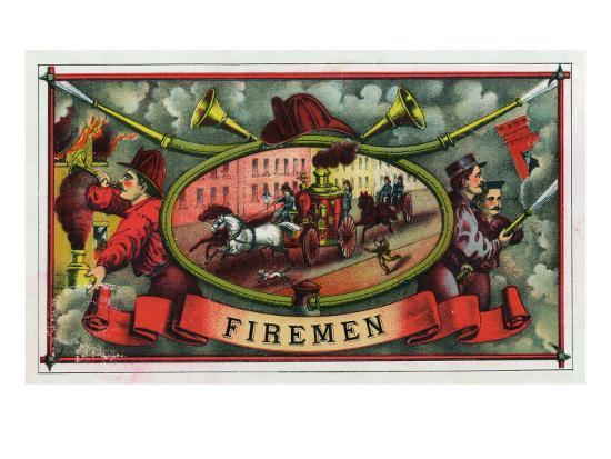 Firemen Brand Cigar Box Label, Firemen with Hoses-Lantern Press-Art Print