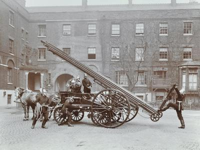 Firemen Demonstrating a Horse-Drawm Escape Vehicle, London Fire Brigade Headquarters, London, 1910--Photographic Print