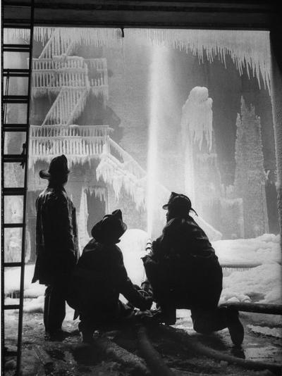 Firemen Fighting a Fire During Icy Weather-Al Fenn-Photographic Print