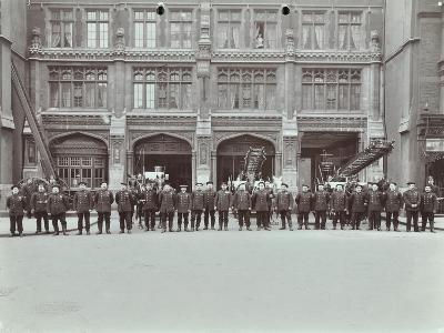 Firemen Lined Up Outside Bishopsgate Fire Station, Bishopsgate, City of London, 1908--Photographic Print