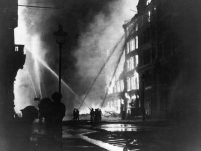 Firemen Using Hoses on the Inferno at Eastcheap London Ec at the Height of the Blitz