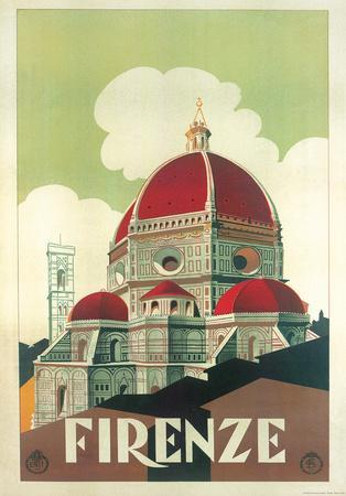 Firenze Cupola (Florence Dome) Italian Vintage Style Travel Poster--Poster