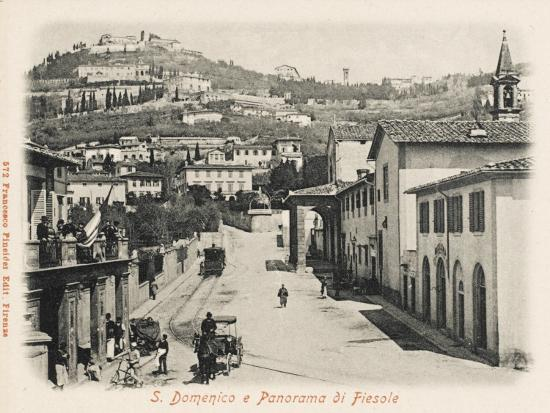 Firenze, Italy. S. Domenico Street and a View of Fiesole--Photographic Print