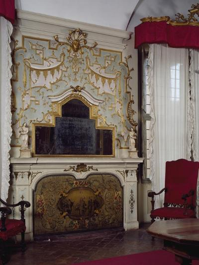 Fireplace in Pope Benedict XIV's Salon with Gilded Stucco, Tozzoni Mansion, Imola, Italy--Giclee Print