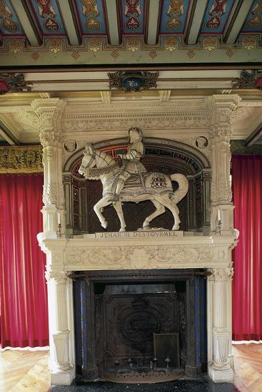 Fireplace with Statue of Jehan III of Estourmel--Photographic Print