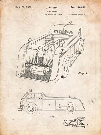 Firetruck 1939 Two Image Patent-Cole Borders-Art Print