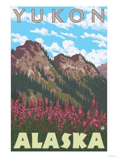 Fireweed & Mountains, Yukon, Alaska-Lantern Press-Art Print