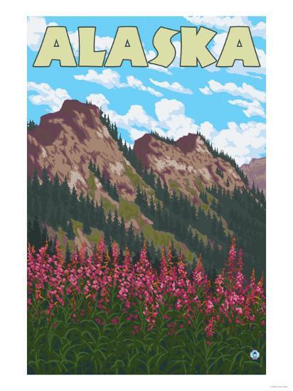 Fireweed with Mountains, Alaska-Lantern Press-Art Print
