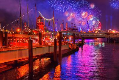 Fireworks, 823rd Hafengeburtstag, Anniversary of Harbour, the Evening-Thomas Ebelt-Photographic Print