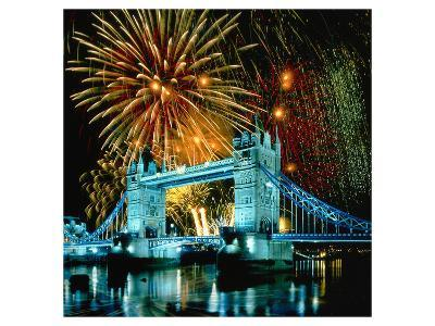 Fireworks above Tower Bridge, London, South England, Great Britain hph15--Art Print