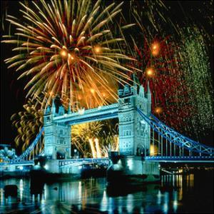 Fireworks above Tower Bridge, London, South England, Great Britain hph15