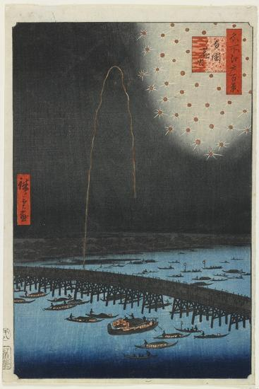 Fireworks at Ryo Goku Bridge, 1858-Utagawa Hiroshige-Giclee Print