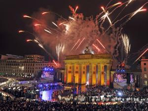 Fireworks at the Brandenburg Gate in Berlin, Germany Commemorating the Fall of the Berlin Wall