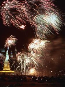 Fireworks Burst Around the Statue of Liberty
