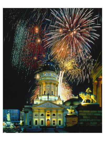 Fireworks Cathedral Berlin--Art Print