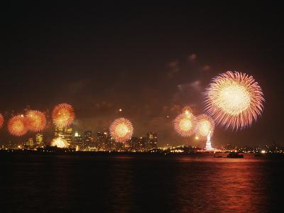 Fireworks Celebration with Manhattan Skyline and Statue of Liberty, Manhattan, New York--Photographic Print