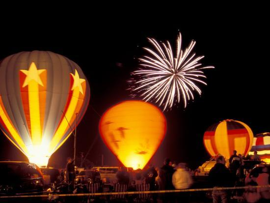 Fireworks During Night Glow Event, 30th Annual Walla Walla Hot Air Balloon Stampede, Washington-Brent Bergherm-Photographic Print