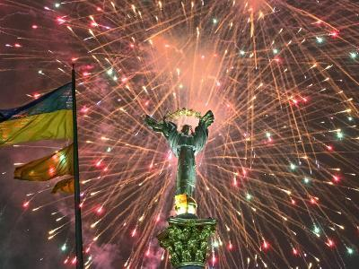 Fireworks Explode Behind the Independence Column, after a Huge Opposition Rally in Kiev--Photographic Print