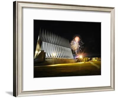 Fireworks Explode Over the Air Force Academy Cadet Chapel-Stocktrek Images-Framed Photographic Print
