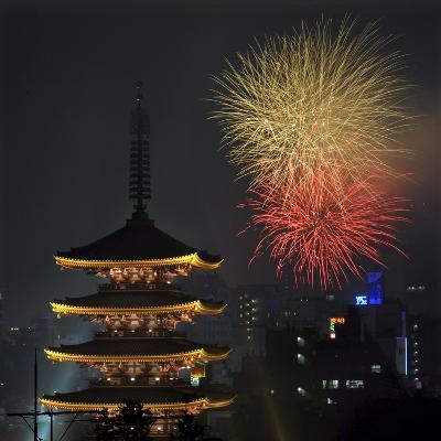 Fireworks Explode over the Five-Storypagoda of Sensoji Temple at Asakusa, Downtown in Tokyo, Japan-Kimimasa Mayama-Photographic Print