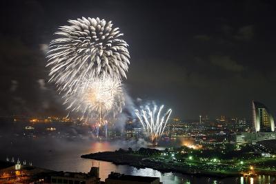 Fireworks Explode over the Port of Yokohama, in Yokohama, Near Tokyo, Japan-Franck Robichon-Photographic Print