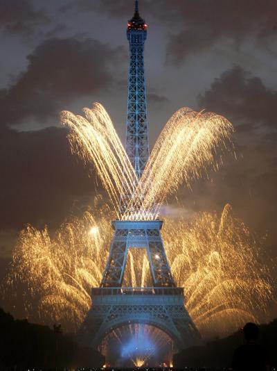Fireworks Illuminate the Eiffel Tower--Photographic Print