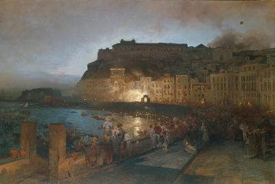 Fireworks in Naples, 1875-Oswald Achenbach-Giclee Print