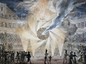 Fireworks in Rome in 1820,s by Thomas, Italy, 19th Century