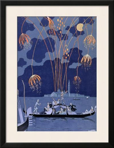 """Fireworks in Venice, Illustration for """"Fetes Galantes"""" by Paul Verlaine 1924-Georges Barbier-Framed Giclee Print"""