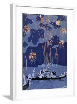 Fireworks in Venice, Illustration for Fetes Galantes by Paul Verlaine 1924-Georges Barbier-Framed Giclee Print