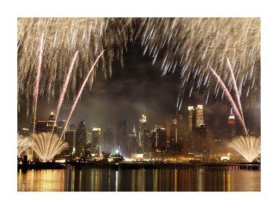Fireworks on Manhattan, NYC-Michel Setboun-Art Print