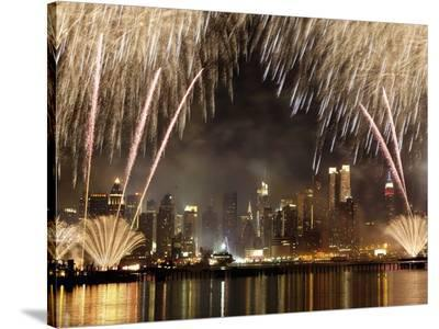 Fireworks on Manhattan, NYC-Michel Setboun-Stretched Canvas Print