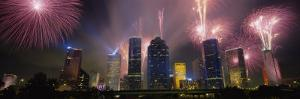 Fireworks Over Buildings in a City, Houston, Texas, USA