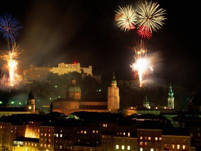 Fireworks Over City, Salzburg, Austria-Thomas Winz-Photographic Print