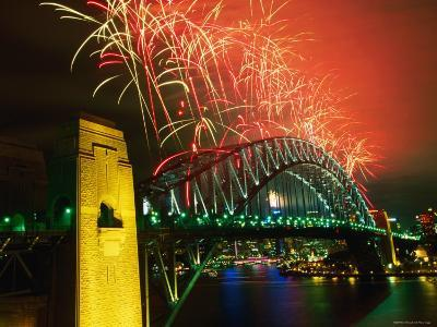 Fireworks over Sydney Harbour Bridge, New Year's Eve, Sydney, New South Wales, Australia-Oliver Strewe-Photographic Print
