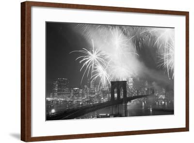 Fireworks over the Brooklyn Bridge-Bettmann-Framed Photographic Print