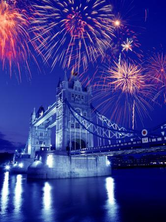 Fireworks Over the Tower Bridge, London, Great Britain, UK-Jim Zuckerman-Photographic Print