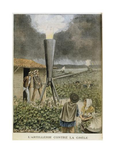 Firing a Cannon into Clouds to Prevent a Hail Storm, 1901--Giclee Print