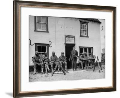 First African American Troop the United States Has Ever Sent to England, Having Beer at Local Pub--Framed Photographic Print