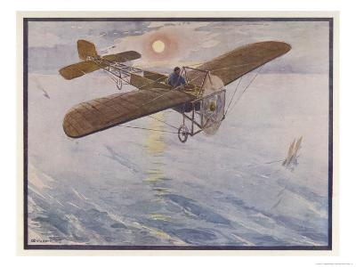 First Air Crossing of the English Channel: Over the Open Sea-H. Delaspre-Giclee Print