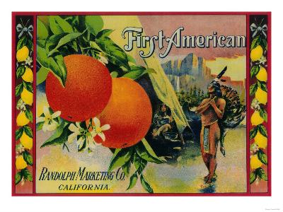 First American Lemon Label - California State-Lantern Press-Art Print