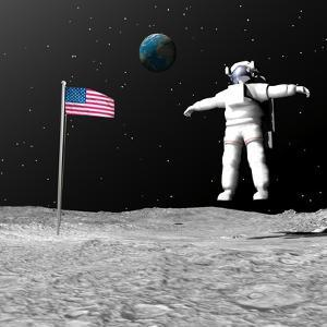 First Astronaut on the Moon Floating Next to American Flag