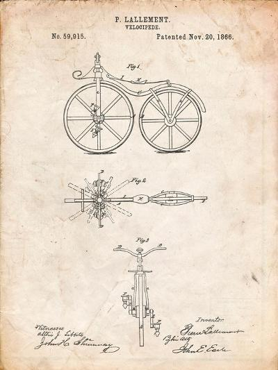 First Bicycle Patent-Cole Borders-Art Print