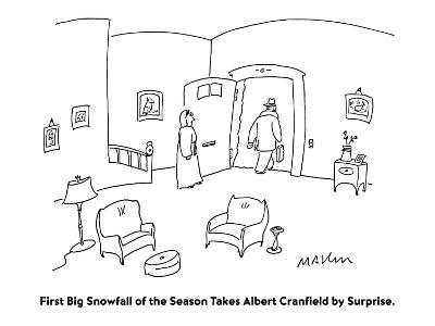First Big Snowfall of the Season Takes Albert Cranfield by Surprise. - Cartoon-Michael Maslin-Premium Giclee Print