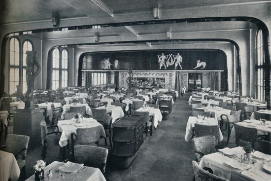 'First Class Dining Saloon on board Victoria', 1931-Unknown-Photographic Print