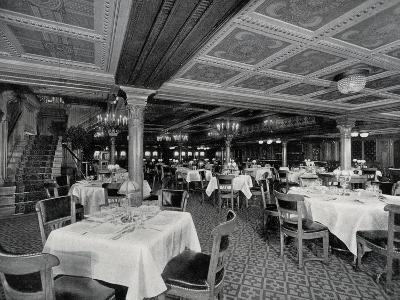 First-Class Restaurant on Board Ss Conte Rosso Transatlantic Liner--Photographic Print