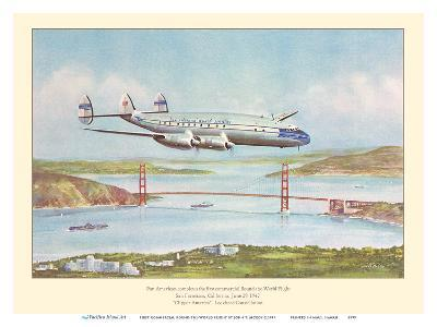 First Commercial Round-the-World Flight - Pan American World Airways - Lockheed Constellation-John T^ McCoy-Art Print